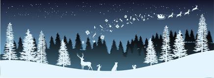 Silhueta do Natal Panorama do trenó da equitação de Santa Claus com cervos Paisagem do ano novo dos invernos Fundo dos feriados ilustração stock