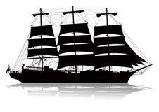 Silhueta do navio de navigação Fotos de Stock