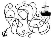 Silhueta do navio e da âncora de pirata Fotografia de Stock Royalty Free