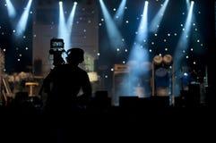 Silhueta do operador cinematográfico Foto de Stock Royalty Free