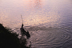 Silhueta do pescador Imagem de Stock Royalty Free