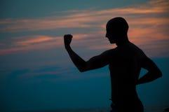 Silhueta do por do sol de artes marciais praticando do homem Fotos de Stock Royalty Free