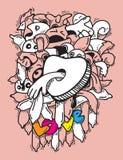 Silhueta do preservativo com amor Fotografia de Stock Royalty Free