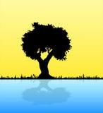 Silhueta do preto do vetor da ilustração de pares no amor do homem e da mulher sob a árvore, sentimental, flor dos amantes, data Fotografia de Stock Royalty Free
