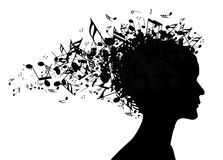 Silhueta do retrato da mulher da música Foto de Stock Royalty Free