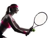 Silhueta do retrato do jogador de tênis da mulher Imagem de Stock