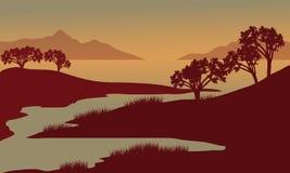 Silhueta do rio na manhã Imagens de Stock