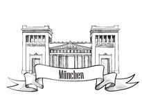 Silhueta do símbolo da cidade de Munich. Coleção da etiqueta da arquitetura da cidade. Fotografia de Stock