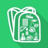 Silhueta do saco de escola com o estilo da máscara liso Fotos de Stock