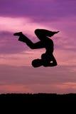 Silhueta do salto da mulher imagens de stock