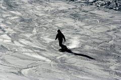 Silhueta do snowboarder Foto de Stock