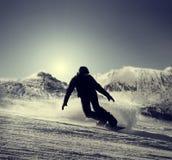 Silhueta do Snowboarder Fotos de Stock