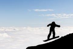 Silhueta do snowboarder do estilo livre Imagem de Stock