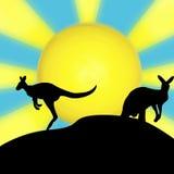 Silhueta do sol do canguru ilustração do vetor