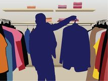 Silhueta do terno do homem no vetor da loja ilustração royalty free