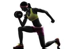 Silhueta do treinamento do peso do construtor de corpo da mulher Fotografia de Stock Royalty Free