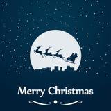 Silhueta do trenó de Santa na lua ilustração stock