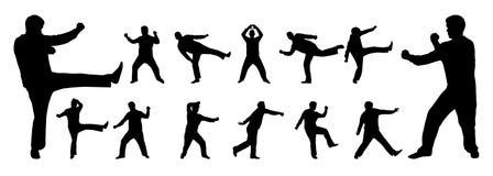 Silhueta do vetor das artes marciais Fotografia de Stock Royalty Free