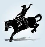 Silhueta do vetor de um cavaleiro de rodeio ilustração royalty free