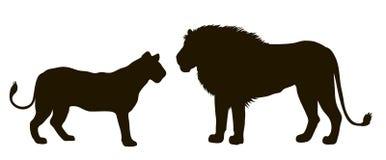 Silhueta do vetor de um par de leões Fotos de Stock Royalty Free
