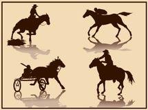 Silhueta do vetor do cavalo Fotografia de Stock