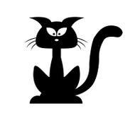 Silhueta do vetor do gato preto de Dia das Bruxas Ilustração do clipart dos desenhos animados isolada no fundo branco Fotos de Stock Royalty Free