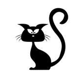 Silhueta do vetor do gato preto de Dia das Bruxas Ilustração do clipart dos desenhos animados no fundo branco Imagens de Stock Royalty Free