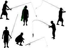 Silhueta do vetor do pescador Foto de Stock Royalty Free