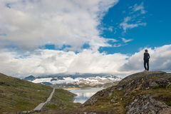 Silhueta do viajante 55 na estrada cénico, Noruega Foto de Stock