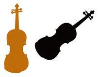 Silhueta do violino Fotografia de Stock
