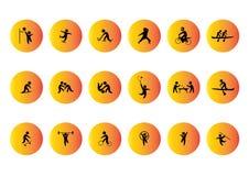 Silhueta dos ícones do vetor do esporte Fotografia de Stock