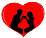 Silhueta dos amantes Foto de Stock Royalty Free