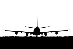 Silhueta dos aviões de passageiro, linha aérea no fundo branco Foto de Stock Royalty Free