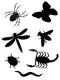 Silhueta dos besouros e dos insetos Ilustração Stock