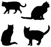 Silhueta dos gatos Imagens de Stock Royalty Free