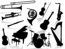 Silhueta dos instrumentos musicais Fotos de Stock Royalty Free