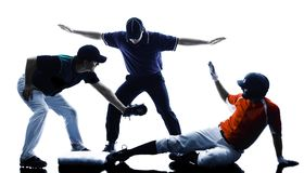 Silhueta dos jogadores de beisebol dos homens isolada Foto de Stock