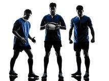 Silhueta dos jogadores dos homens do rugby Fotografia de Stock Royalty Free