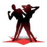 Silhueta dos pares da dança Imagens de Stock