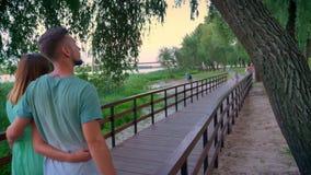 A silhueta dos pares está andando ao longo do trajeto no parque no verão, por do sol vídeos de arquivo