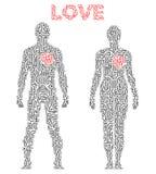 Silhueta dos pares no esquema do circuito Tema do amor Fotografia de Stock