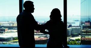 Silhueta dos pares que discutem perto da janela vídeos de arquivo