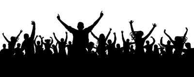 Silhueta dos povos do elogio da multidão Audiência de aplauso ilustração royalty free