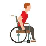 Silhueta dos povos do vetor da segurança da cadeira de rodas do acidente do traumatismo Fotografia de Stock Royalty Free