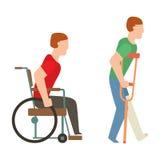 Silhueta dos povos do vetor da segurança da cadeira de rodas do acidente do traumatismo Imagem de Stock Royalty Free