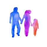 Silhueta dos povos Uma família watercolor Fotografia de Stock