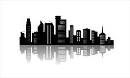Silhueta dos prédios de escritórios com reflexão ilustração do vetor
