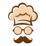Silhueta dos vidros de With Mustache And do cozinheiro chefe ilustração do vetor