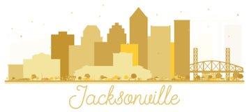 Silhueta dourada da skyline da cidade de Jacksonville Florida EUA ilustração stock