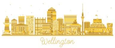 Silhueta dourada da skyline de Wellington New Zealand City ilustração royalty free
